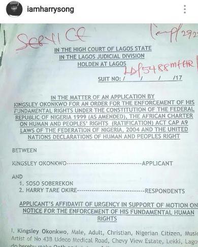 Harrysong Lawsuit